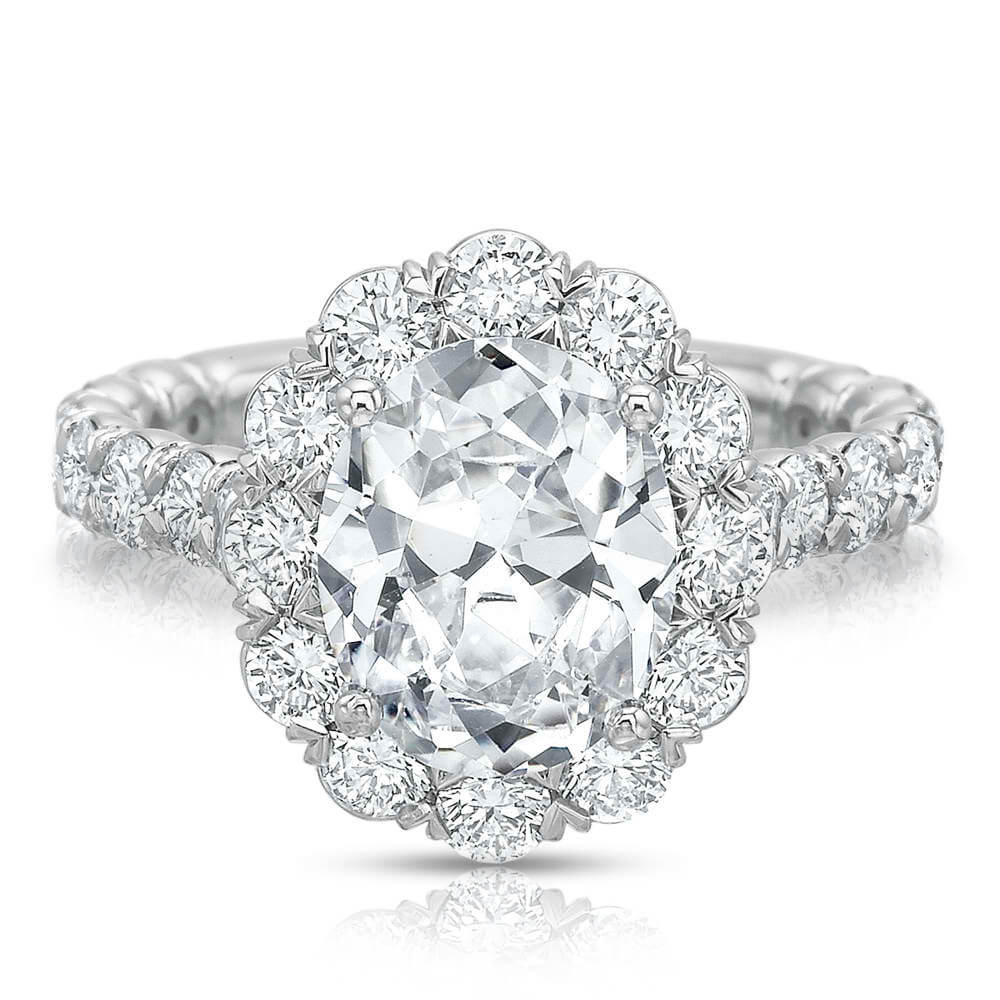 Precision Set Extraordinary Silk Prong Oval Halo Engagement Ring Mounting